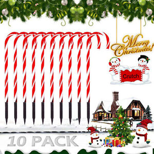 10Pcs LED Christmas Candy Cane Pathway Lights Outdoor Garden Yard Decor Lights