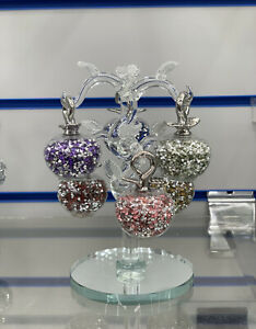 Sparkly Multi Crushed Diamond Decorative Crystal Filled Glass Apple Tree 6 arm✨
