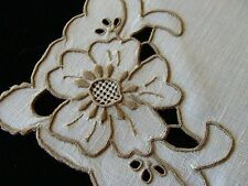"FAB12 PRISTINE Vtg MADEIRA Ivory Linen Napkins 17"" Hand Embroidered Cutwork"