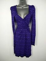 WOMENS FRENCH CONNECTION PURPLE PATTERNED WRAP FRONT LONG SLEEVE DRESS UK 10