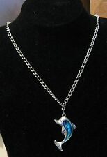 Wonderful silver tone metal chain necklace with dolphin pendant