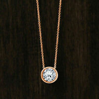 1.00 Ct Round Cut Diamond 14K Rose Gold Over 925 Solitaire Pendant Chain Free