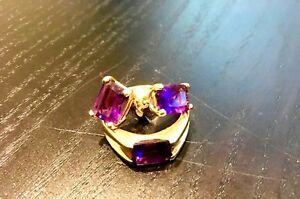 18K Gold ring + earrings set with amethyst stone