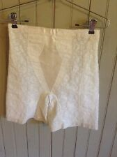 Vintage white high waist long leg girdle w/ garters sz Lg floral pattern