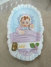 "Vtg Enesco Growing Up Birthday Girls, Newborn Porcelain Figurine, 3.25"", 1987"