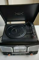 Classic Vinyl Record Player Turntable CD Radio MP3 Player Music Centre (Black)