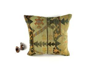 Oushak Kilim Pillow Cover 20x20 Handknotten Vintage Sofa Cushion Cover A2792