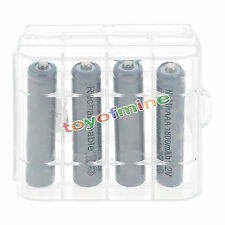 4x3A AAA 1800mah NiMH 1.2v Grey Rechargeable Battery +1x Plastic case
