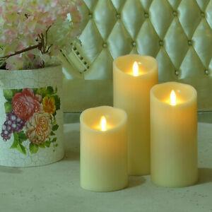 Luminara Vanilla Ivory Pillar Candle Moving Flame Warm Yellow Light LED Candles