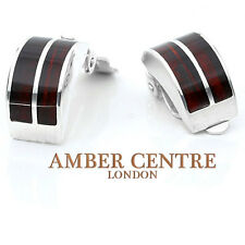 Modern Style Baltic Amber Clip on Earrings 925 Silver Handmade CL009  RRP £60!!!