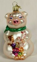 Blown Glass Pig with Cookies Christmas Ornament - OWC