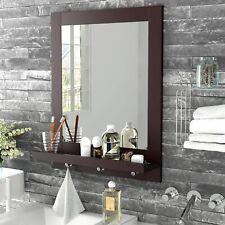 Wall Mirror Vanity Makeup Mirror with Frame&Shelf &3 Hanging Hooks Home Bathroom