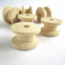 10x 1.5cm unfinished natural wooden spools bobbins reels for ribbons cottons