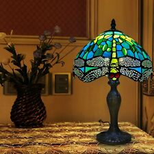More details for tiffany style green dragonfly design 10 inch lamp shade stained glass home decor