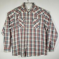 Wrangler Jeans Co Mens Pearl Snap Button Shirt 2XL Long Sleeve Western Plaid