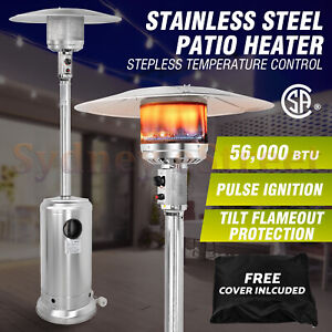 56000 BTU Outdoor Propane Gas Stainless Steel Patio Heater Floor Stand Heating