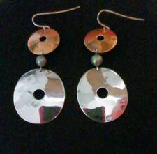 Robert Lee Morris RLM Sterling Silver .925 Pearl and Brass Circle Earrings