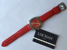Locman Diamond Bezel Red Leather Strap Chronograph Date Indicator Watch