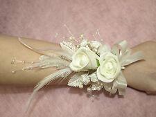 LADIES WRIST CORSAGE IN IVORY, WEDDING FLOWERS,BRIDAL