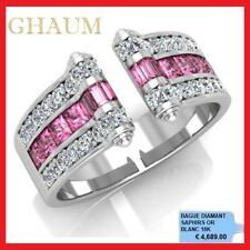 BAGUE DIAMANT ALLIANCE DIAMANTS CADEAU MARIAGE SAPHIRS ROSES OR BLANC 18K 4689€