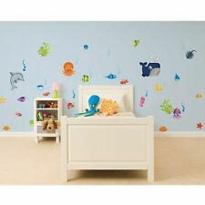UNDER THE SEA 35 PIECE SET WALL STIKAROUNDS KIDS BEDROOM NEW FREE P+P