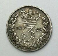Dated : 1877 - Silver Coin - Threepence - 3d - Queen Victoria - Great Britain