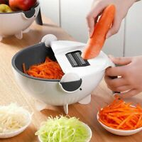 Magic Multifunctional Rotate Vegetable Cutter With Drain Basket Kitchen Veggie