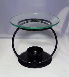 Duft-Lampe Teelicht-Kerzen-Halter Metall schwarz Schale Glas 12 cm Durchm. NEU