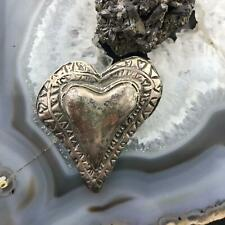 Silver Brooch, Large Silver Heart Silver Stamped Heart Brooch, Bold