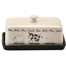 Butter Dish Home Farm Design Cream and Black Stoneware by Price & Kensington NEW