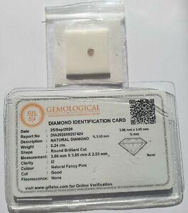 ARGYLE PINK Diamond 0.24ct, 3.86mm - Round - GIL CERTIFICATE - Genuine - NATURAL