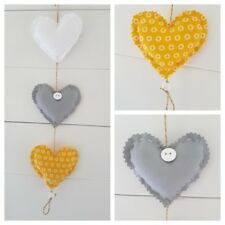 Handmade vertical Hanging Hearts with 3 in Grey/ white and mustard (yellow).