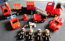 Lego Duplo Fire Truck Car Truck Lot of 10 + Firemen Figures Dog Trailer Ladder