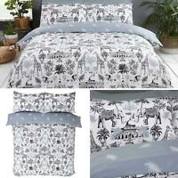 Grey Duvet Covers Safari Animals Jungle Printed White Quilt Cover Bedding Sets