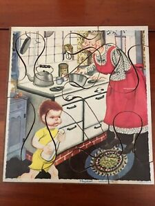 "Vintage Playskool Puzzle Masonite Board Grandmother's Kitchen 6 Pieces 8 x 9"""