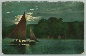 St Paul Minnesota~Sail Boat on White Bear Lake at Night~Vintage Postcard