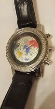 RARE FACE TECHNO MASTER WATER RESISTANT LARGE FACE MAP DIAMOND WATCH MENS