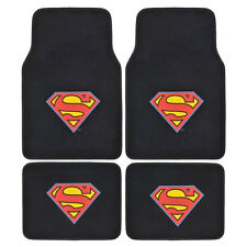 New Superman Super Man Shield Car Truck Front Back Carpet Floor Mats Set of 4pc