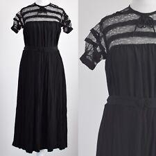 1920s ORIGINAL VINTAGE BLACK LACE BODICE, BELTED DRESS 8