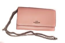 COACH Boxed Phone Pink Crossbody Silver Chain Strap Peony
