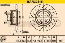 2x Bremsscheibe BARUM BAR32115 vorne für MERCEDES-BENZ