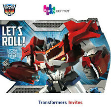TRANSFORMERS PARTY SUPPLIES 8 INVITES / INVITATION PACK ( TRANSFORMERS 4 DESIGN)