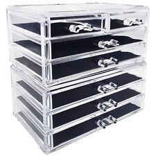 2 Piece Acrylic Makeup and Jewelry Organizer Storage Set