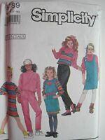 Simplicity Sewing Pattern 9789 Girls Childs Knit Pants Dress Top Vest Sizes 7-14