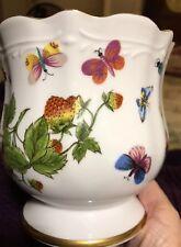 "Lenwile Ardalt 5"" Japan Porcelain Flower Container Butterflies Strawberries NICE"