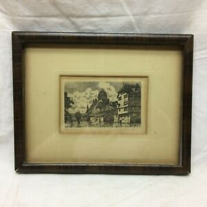 Vintage Art Etching Nuremberg Signed