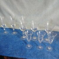 Vintage Small Stemed Etched Wine Glasses set of 9 please read description