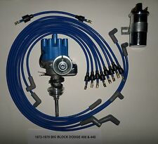DODGE 440 73-78 BLUE Small Female Cap HEI Distributor +45K Coil+Spark Plug Wires