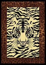 "Safari Black White Tiger Carpet 5x8 Tiger Africa Area Rug : Actual 5' 3"" x 7' 2"""