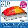 10 x 12V~24V 8-LED AMBER/RED MARKER LIGHTS CHROME - Boat/Trailer Clearance Lamps